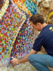 Gaudi wall in progress. photo by Anna Montoro